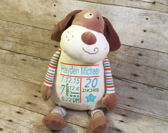 Personalized Baby Cubbie Striped Dog Baby Embroidered Cubbies Stuffed Animal Personalized Stuffed Animal Baptism Gift Birth Announcement