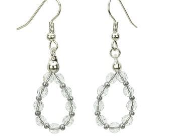 Silver April Crystal Birthstone Earrings, Swarovski Crystal Jewelry, Jewelry Gift, Clear Crystal Jewelry, Birthstone Crystal, Dangle Earring