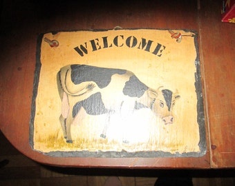 Vintage Welcome Sign with Cow Motif