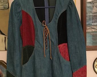 Vintage denim and corduroy dress