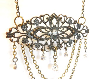 Antiqued Brass filigree necklace labyrinth Masquerade ball inspired black with crystals perfect for a wedding or bride or special date night