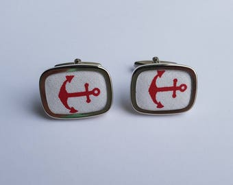 Cufflinks silver lining with anchor