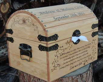 Wedding Time Capsule / Memory / Keepsake / Wedding Card Box Wood Burned Custom Pyrography