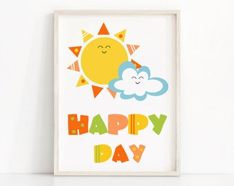 Kids Wall Art, Kids Room Print, Printable Nursery Art, Happy Day Playroom Wall Art,  Kids Print, Digital Download Sunshine Print, Kids Decor