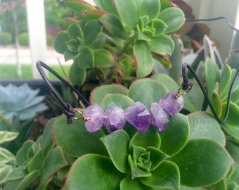 Handmade natural amethyst point leather cord necklace