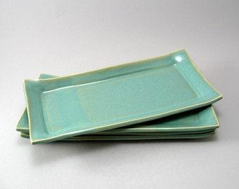 Sushi Plates-Set of 4-Handmade-White Stoneware-Pottery Plate-Tableware-Pearl Green Glaze