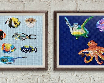 FISH cross stitch pattern, cool cross stitch, modern cross stitch pattern, diy hoop art, underwater animals, counted cross stitch