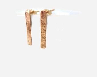 14K Gold Earrings, Bar Stud Earrings, Stud Earrings, Dainty Earrings, Minimalist Earrings, Tiny Bar Earrings, Simple Earrings
