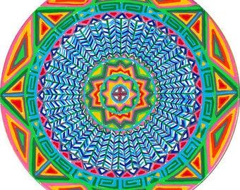 Cosmic Circle, Earth Tribe, Window cling, Pagan, Native American, Mandala, Medicine wheel, Eco friendly, Spiritual Gift, made in California