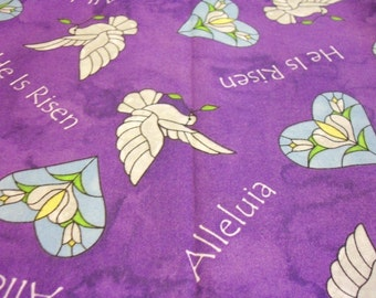 """Easter Christian Fabric """"he Is Risen"""" Very Nice Fat Quarter New BTFQ"""