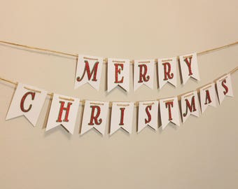Merry Christmas Banner - Holiday Banner -  Merry Christmas Decor