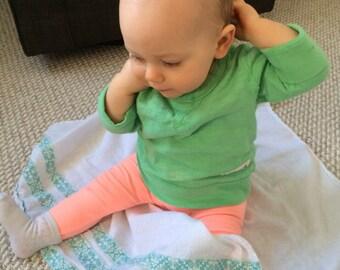 Turquoise Flour Sack Baby Burp Cloth