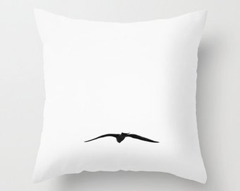 "Bird pillow, bird cushion, black and white, photography,white cushion, minimalist, white decor,white pillow, flying, unique, 14"" 16"" 18"" 20"""