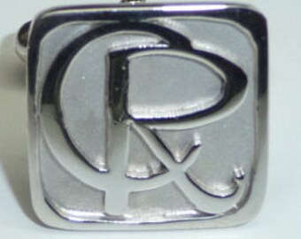 cuff links sterling silver . 2 initial