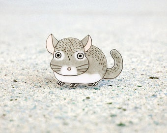 Chinchilla Pin, Chinchilla Brooch, Chinchilla Jewelry, Chinchilla Jewellery, Chichilla Gifts, Animal Pin, Animal Brooch, Shrink Plastic