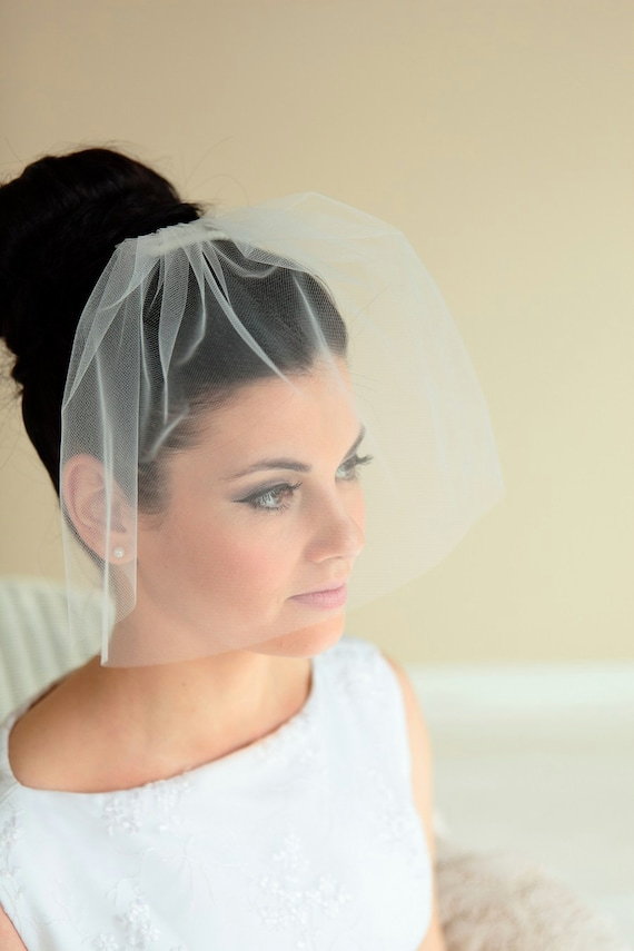 Tulle Birdcage Veil for Wedding - Simple White Tulle Birdcage Veil and Comb