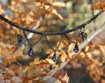 Gothic chainmaille crystal necklace, Swarovski bronze chainmail elf jewelry, witch necklace, dark mori gothic choker, chainmail necklace