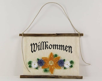 Willkommen, German Welcome, Paper Quilled German Welcome Sign, 3D Quilled Banner, Paper Flower Decor, Yellow Blue White Decor, Germany Gift
