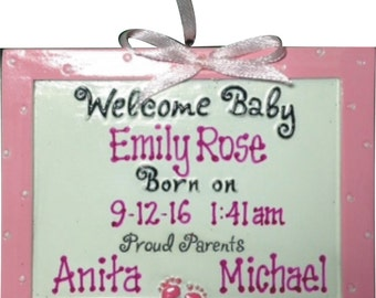 Baby Ornament Welcome Baby - Personalized Baby Ornament - Baby Boy - New baby gift - First Christmas - Personalized / FREE SHIPPING