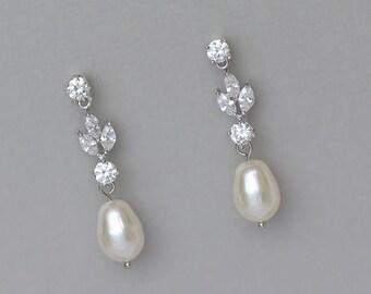 Bridal Earrings, Crystal Pearl Earrings, Pearl Drop Earrings, Pearl Bridal Jewelry, Wedding Earrings, ASHLEY SP