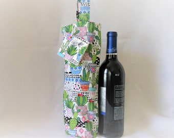 wine tote with cactus flair, gardener's gift bag, housewarming present for person who loves cactus flowers, birthday gift