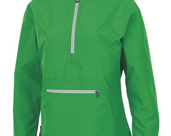 Monogrammed Pullover Wind and Rain Jacket Kelly Green