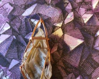 Druzy Quartz Geode Slice Pendant