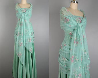 Vintage 1950s Gown 50s Taffeta Dress MINT JULEP 50s Organza and Taffeta Formal Gown with Matching Shawl Size XS
