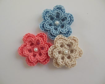 Trio of Crocheted Flowers - Coral, Blue and Ecru with Pearl - Cotton Flowers - Crocheted Flower Appliques - Crocheted Flower Embellishments