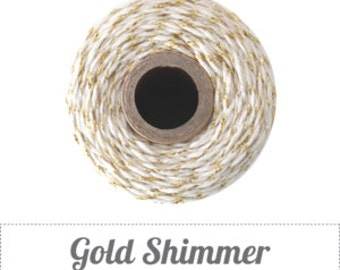 10 yards/ 9.144 m Gold Shimmer, Metallic Gold & Natural Bakers Twine, Divine Twine