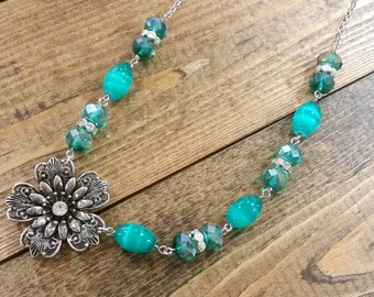 Green Crystal Flower Necklace