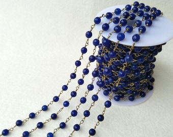 3/10/16 feet One Strand Brass Plated Wire Wrapped  Royal blue drusy Agated Faceted Beaded Chain 5~6mm  Beads Rosary Chain Finding LZ03