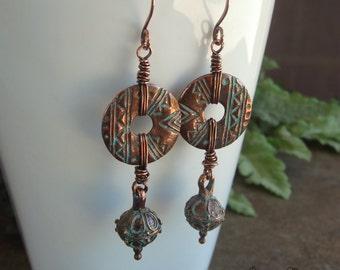 Copper Earrings, Greek Patina Discs, Bali Style Beads, Tribal Earrings, Wire Wrapped Earrings, Turquoise Patina, Boho Earrings