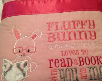 Pocket pillow bunny reading pillow pink  child reading pillow fluffy bunny quote zip close pink satin kissing bunnies print pink cotton