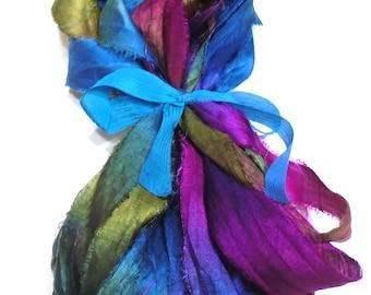 10YD. BLUE RASPBERRY Sari Silk Bundle//Dyed Silk Sari Ribbon Bundle//Sari Tassels,Sari Wall Decor,Sari Fiber Jewelry,Sari Tapestry