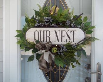 Our Nest Grapevine Wreath Ficus Leaves Hummingbird Fern Leaves Nest Eggs Berries Bow Wildflowers