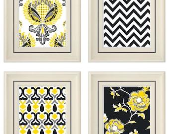 Set of Four Modern Yellow/Gray Art Print (Unframed)