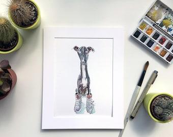Greyhound dog watercolour, Greyhound art, greyhound painting, nursery art, Sighthound watercolour, greyhound illustration, greyhound,