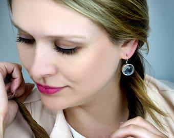 SUMMER SALE - Blue topaz earrings,bezel earrings,silver drop earrings,bridal earrings,bridesmaid gifts,gemstone earrings