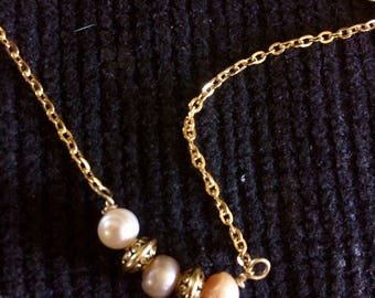 Pink Fresh Water Pearl Necklace Antique Gold with Magnetic Closure
