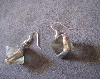 Fluorite tin earrings, Tiffany technique,Raw crystal fluorite earrings, gift for her, birthday gift