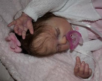Ready to be  ADOPTED.  Ready to Ship. Custom Reborn Baby Girl Gemma by Donna Rubert. Open Mouth. Takes Preemie Pacifier.