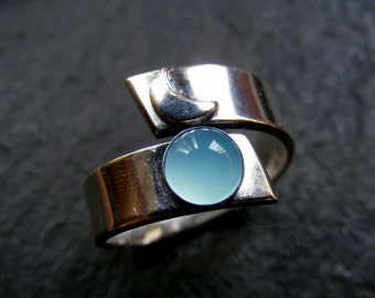 Silver Crescent Moon Ring with Blue Chalcedony Wraparound moon ring