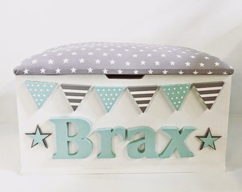 Personalised Toy Box - Grey & Mint Green