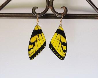 Butterfly Wing Earrings, Handcrafted Jewelry, Dangle Earrings, 14k, Sterling Silver, Hypoallergenic, Insects, Fish Hook earrings, Butterfly