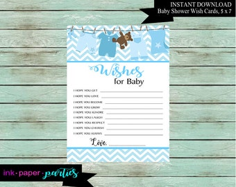 Baby Shower Wish Cards Party Game Favors - Digital File - Instant Download