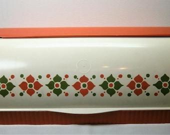 Vintage 1970's kunststof GERDA broodtrommel oranje wit