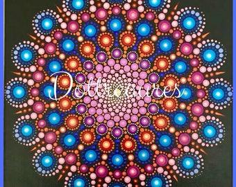 Dot Mandala in blues and pinks
