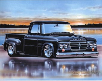 1965 Dodge D100 Stepside Pickup Classic Truck Art Print Black 11x14