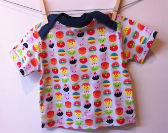 T-shirt short sleeves with envelope closure, trimmed with fabric, mt 80